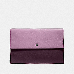 LARGE ENVELOPE POUCH IN COLORBLOCK - JASMINE MULTI/SILVER - COACH F29664