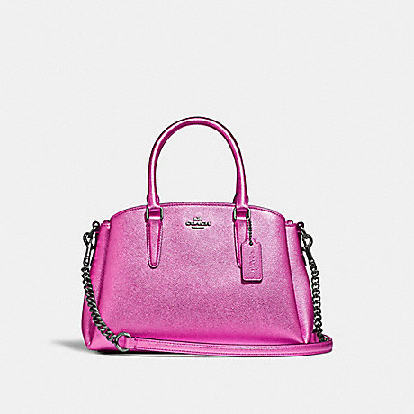 COACH MINI SAGE CARRYALL - METALLIC CERISE/BLACK ANTIQUE NICKEL - F29665