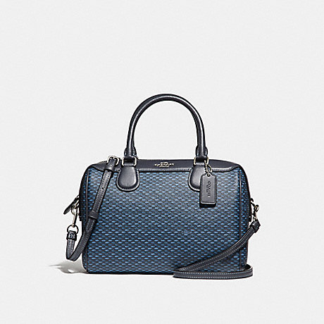 COACH MINI BENNETT SATCHEL WITH LEGACY PRINT - NAVY/SILVER - F29669