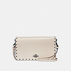HAYDEN FOLDOVER CROSSBODY CLUTCH WITH RIVETS - CHALK/BLACK COPPER - COACH F29675