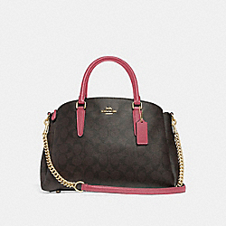 SAGE CARRYALL IN SIGNATURE CANVAS - BROWN/STRAWBERRY/IMITATION GOLD - COACH F29683
