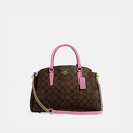 COACH SAGE CARRYALL IN SIGNATURE CANVAS - IM/BROWN PINK ROSE - F29683