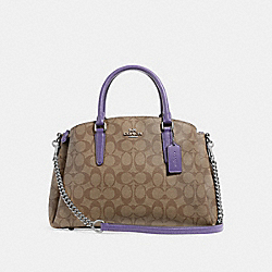 SAGE CARRYALL IN SIGNATURE CANVAS - KHAKI/LIGHT PURPLE/SILVER - COACH F29683