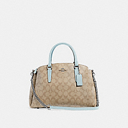 SAGE CARRYALL IN SIGNATURE CANVAS - LIGHT KHAKI/SEAFOAM/SILVER - COACH F29683
