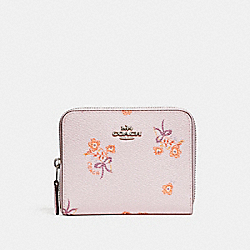 SMALL ZIP AROUND WALLET WITH FLORAL BOW PRINT - ICE PINK FLORAL BOW/SILVER - COACH F29685