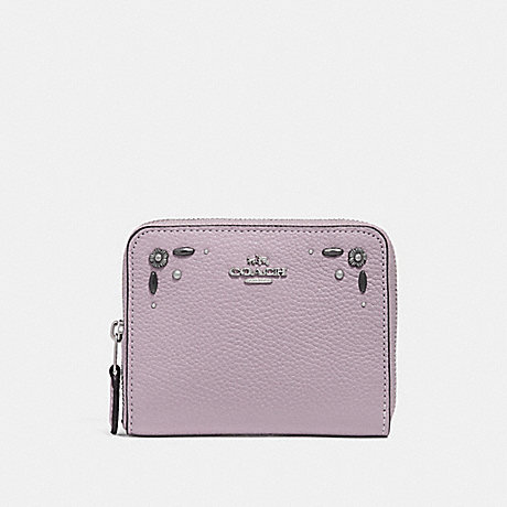 COACH SMALL ZIP AROUND WALLET WITH PRAIRIE RIVETS DETAIL - ICE PURPLE/SILVER - F29689