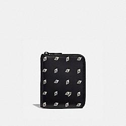 SMALL ZIP AROUND WALLET WITH DOT DIAMOND PRINT - BLACK/CHALK - COACH F29695