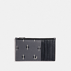 ZIP CARD CASE WITH IKAT GEO PRINT - GRAPHITE - COACH F29700