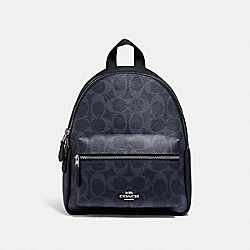 COACH MINI CHARLIE BACKPACK IN SIGNATURE CANVAS - denim/midnight/silver - F29719