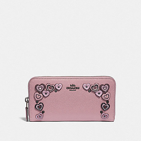 COACH ACCORDION ZIP WALLET WITH HEARTS - DUSTY ROSE/BLACK COPPER - F29746