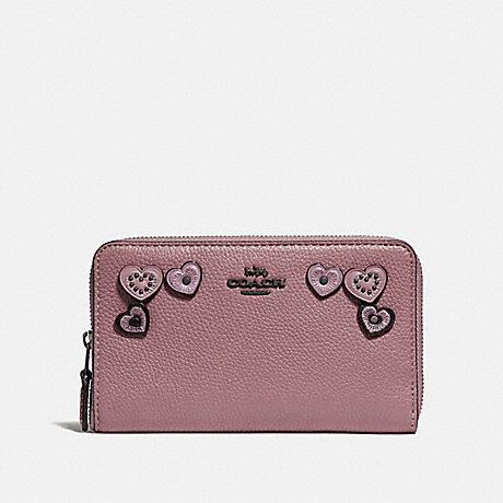 COACH MEDIUM ZIP AROUND WALLET WITH HEARTS - DUSTY ROSE/BLACK COPPER - F29748