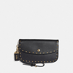 CLUTCH WITH RIVETS - BLACK/BRASS - COACH F29765