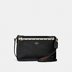 COACH EAST/WEST CROSSBODY WITH POP-UP POUCH WITH BUTTERFLY DOT PRINT - CHALK/BLACK/LIGHT GOLD - F29805