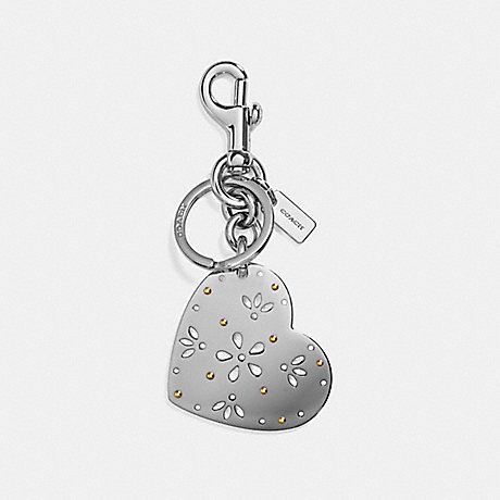 COACH PERFORATED HEART BAG CHARM - SILVER/SILVER - f29817