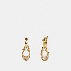 COACH SIGNATURE HUGGIE EARRINGS - GOLD - F29820