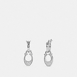 SIGNATURE HUGGIE EARRINGS - SILVER - COACH F29820