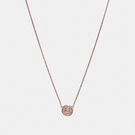 COACH PAVE PENDANT NECKLACE - ROSEGOLD - F29828
