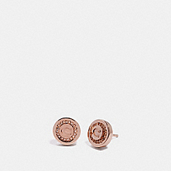 PAVE PENDANT STUD EARRINGS - f29830 - ROSEGOLD