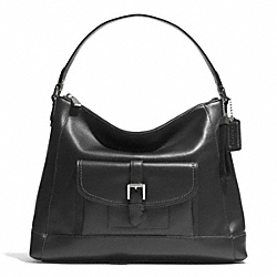 COACH CHARLIE LEATHER HOBO - SILVER/BLACK - F29881