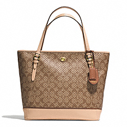 COACH PEYTON PERFORATED PVC ZIP TOP TOTE - BRASS/KHAKI/TAN - F29886
