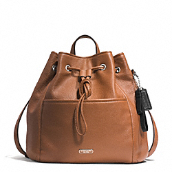 COACH PARK LEATHER DRAWSTRING BACKPACK - SILVER/SADDLE - F29895
