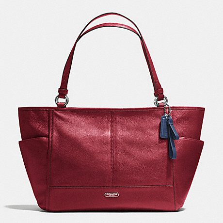 COACH f29898 PARK LEATHER CARRIE TOTE SILVER/CRIMSON