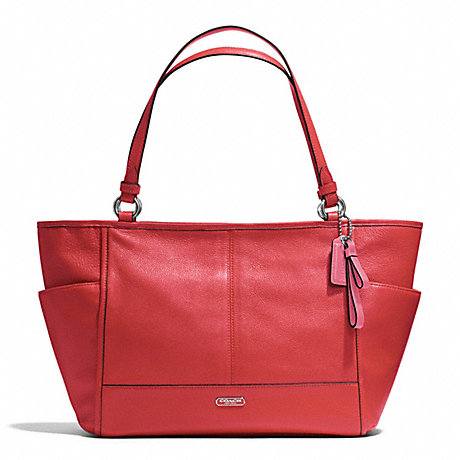 COACH f29898 PARK LEATHER CARRIE TOTE SILVER/VERMILLION