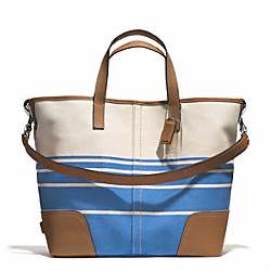 HADLEY VARIEGATED STRIPED DUFFLE - SILVER/BRILLIANT BLUE - COACH F29921