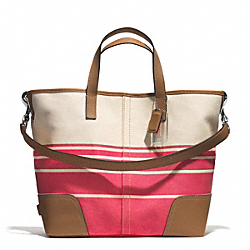 HADLEY VARIEGATED STRIPED DUFFLE - SILVER/CORAL - COACH F29921