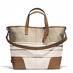 COACH HADLEY VARIEGATED STRIPED DUFFLE - SILVER/PARCHMENT - F29921