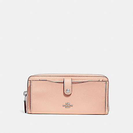 COACH MULTIFUNCTION WALLET WITH DAISY BUNDLE PRINT - LIGHT PINK MULTI/SILVER - f29927