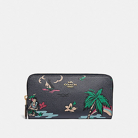COACH ACCORDION ZIP WALLET WITH SCENIC HAWAIIAN PRINT - MIDNIGHT MULTI/IMITATION GOLD - f29933