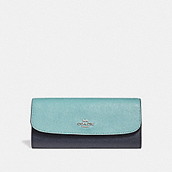 SOFT WALLET IN COLORBLOCK - SILVER/BLUE MULTI - COACH F29938