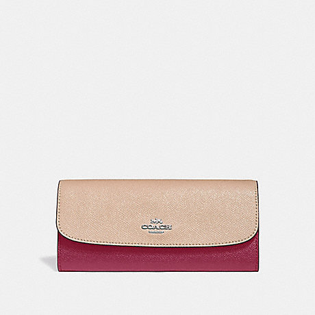 COACH SOFT WALLET IN COLORBLOCK - SILVER/PINK MULTI - f29938
