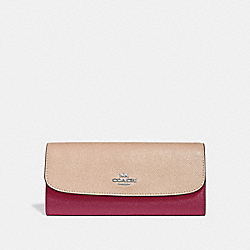 SOFT WALLET IN COLORBLOCK - SILVER/PINK MULTI - COACH F29938