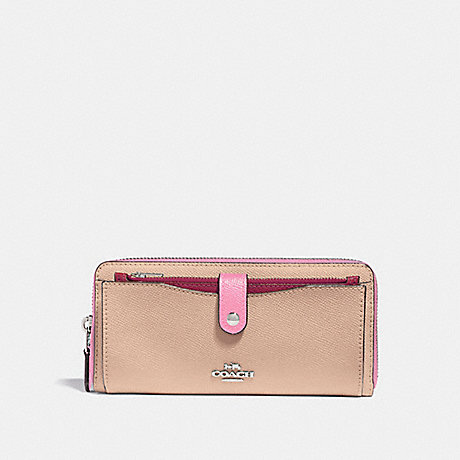 COACH MULTIFUNCTION WALLET IN COLORBLOCK - PINK MULTI/SILVER - F29940