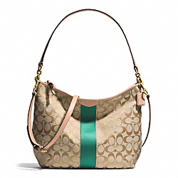 COACH SIGNATURE STRIPE CONVERTIBLE HOBO - BRASS/KHAKI/EMERALD - F29941