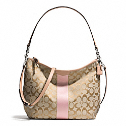 COACH SIGNATURE STRIPE CONVERTIBLE HOBO - SILVER/LIGHT KHAKI/SHELL PINK - F29941
