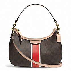 COACH SIGNATURE STRIPE DEMI CROSSBODY - BRASS/BROWN/VERMILLION - F29942