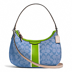 COACH SIGNATURE STRIPE DEMI CROSSBODY - SILVER/BLUE/GREEN - F29942