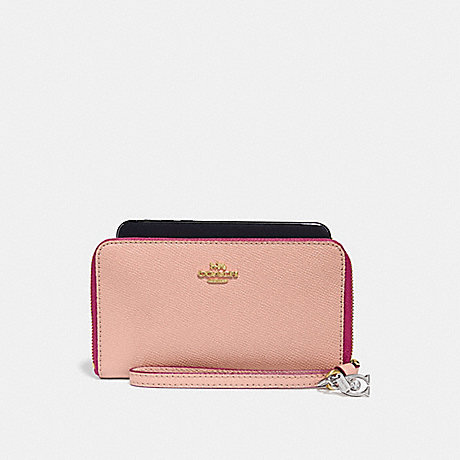 COACH PHONE WALLET WITH CHARMS - nude pink/imitation gold - f29943