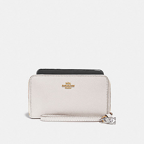 COACH PHONE WALLET WITH CHARMS - CHALK/IMITATION GOLD - f29943
