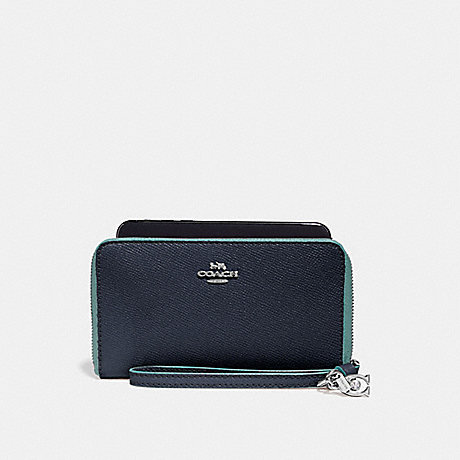 COACH PHONE WALLET WITH CHARMS - MIDNIGHT NAVY/SILVER - f29943