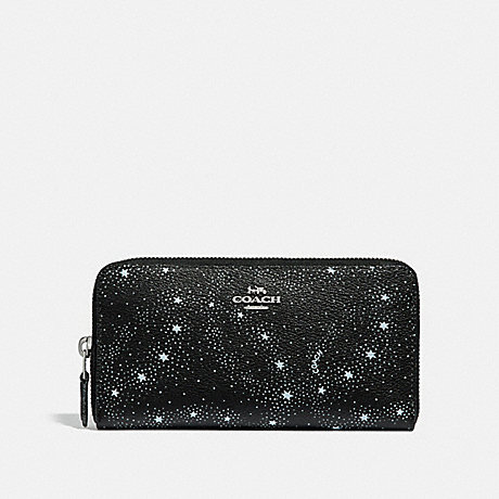 COACH ACCORDION ZIP WALLET WITH CELESTIAL PRINT - SILVER/BLACK - f29946
