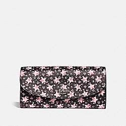 SLIM ENVELOPE WALLET WITH STAR PRINT - f29952 - MIDNIGHT MULTI/SILVER