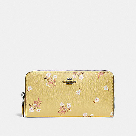 COACH ACCORDION ZIP WALLET WITH FLORAL BOW PRINT - SUNFLOWER FLORAL BOW/DARK GUNMETAL - F29969