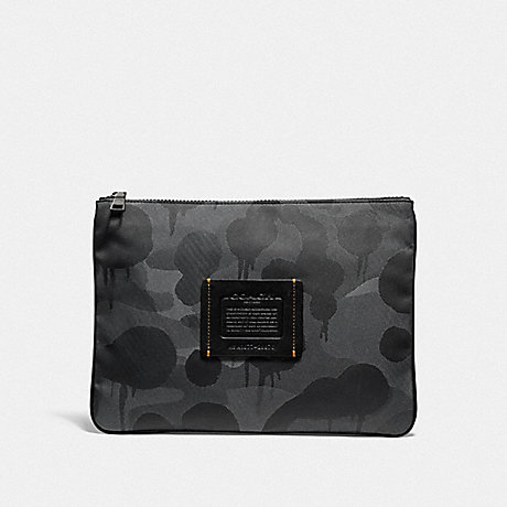 COACH LARGE MULTIFUNCTIONAL POUCH WITH WILD BEAST PRINT - CHARCOAL - F29976