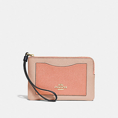 COACH CORNER ZIP WRISTLET IN COLORBLOCK - SUNRISE MULTI/light gold - f30048