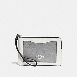 CORNER ZIP WRISTLET IN COLORBLOCK - CHALK MULTI/SILVER - COACH F30048
