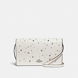 FOLDOVER CROSSBODY CLUTCH WITH CELESTIAL STUDS - SILVER/CHALK - COACH F30050